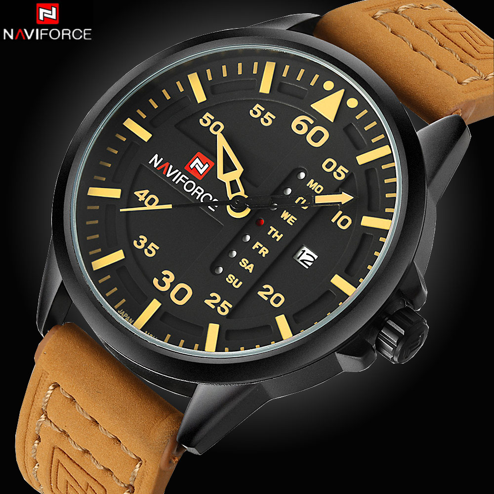 NAVIFORCE Luxury Brand Date Japan Movt Square Men Quartz Casual Watch Army Military Sports Watch Men Watches Male Leather Clock купить недорого в Москве