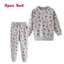 קפיצות מטרים תינוק ארוך שרוול בגדי סטי כותנה מלגזות מודפס קריקטורה מכירה לוהטת בני בנות חליפות ספורט חולצות + מכנסיים