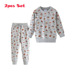 Jumping Meters Baby Long Sleeve Clothing Sets Cotton Forklifts Printed Cartoon Hot Selling Boys Girls Suits Sport Shirts + Pants