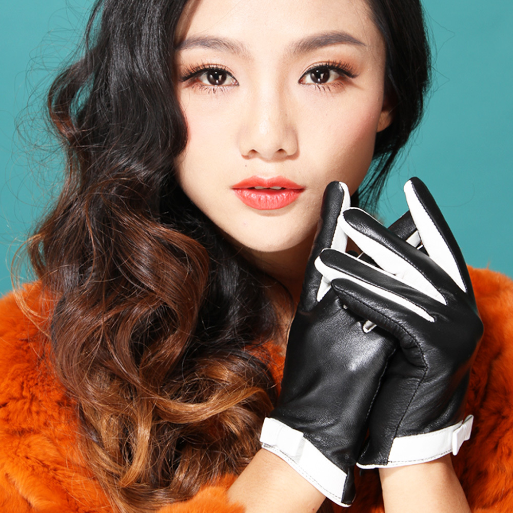 Long black leather gloves prices - 2017 Girls New Performance Dancing Gift Time Fashion Driving Women Genuine Leather Black White Hot Style