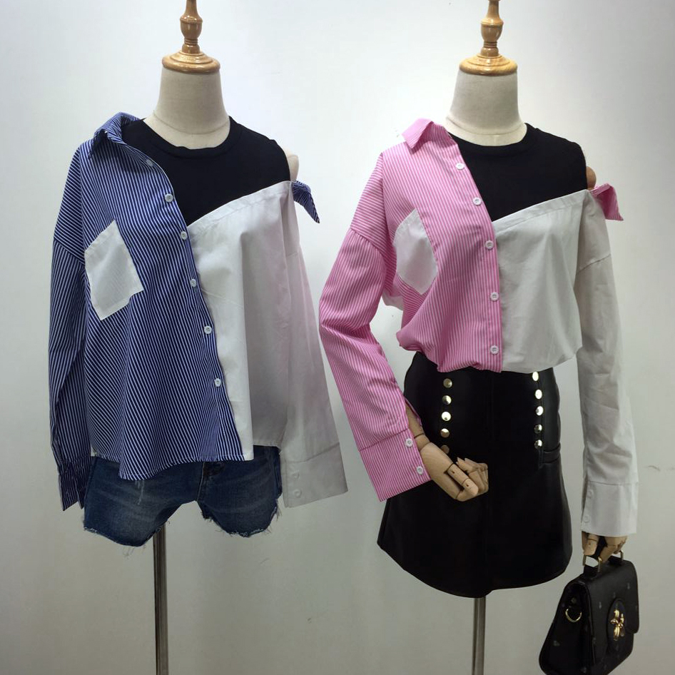 Contrast Patchwork shirt blouse Asymmetrical with open shoulders spicy Tops Fashion striped Casual Dip Hem