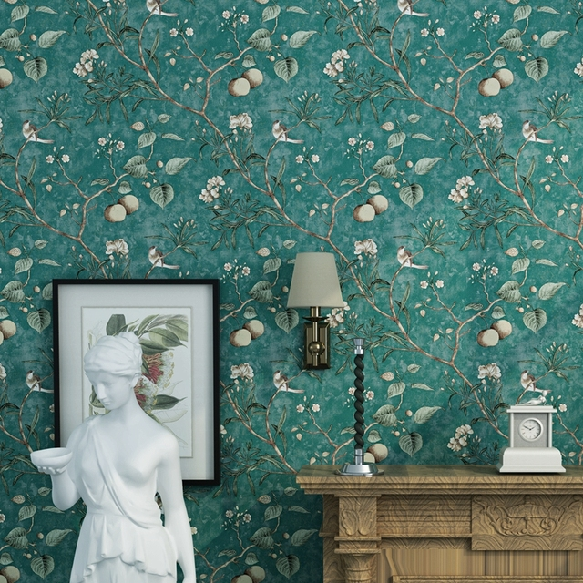 Vintage grote bloem vogel dier behang pvc schilderen art print behang voor slaapkamer muur cover - Behang patroon voor de slaapkamer ...