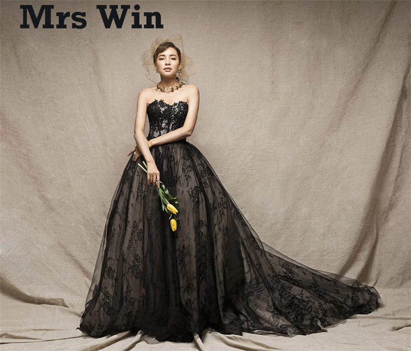 Non White Wedding Dresses: Vestido De Noiva New Vintage Lace Gothic Black Wedding