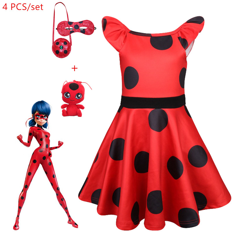 Girl Bug Dots Birthday Celebration Gown Miraculous Ladybug Halloween Clothes Youngsters Ladies Garments Gown Christmas Present Fairly Costume