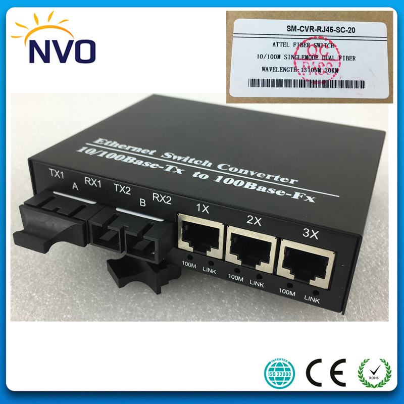 10//100M Singlemode 20KM Duplex SC Fiber Optic to RJ45 Ethernet Media Converter