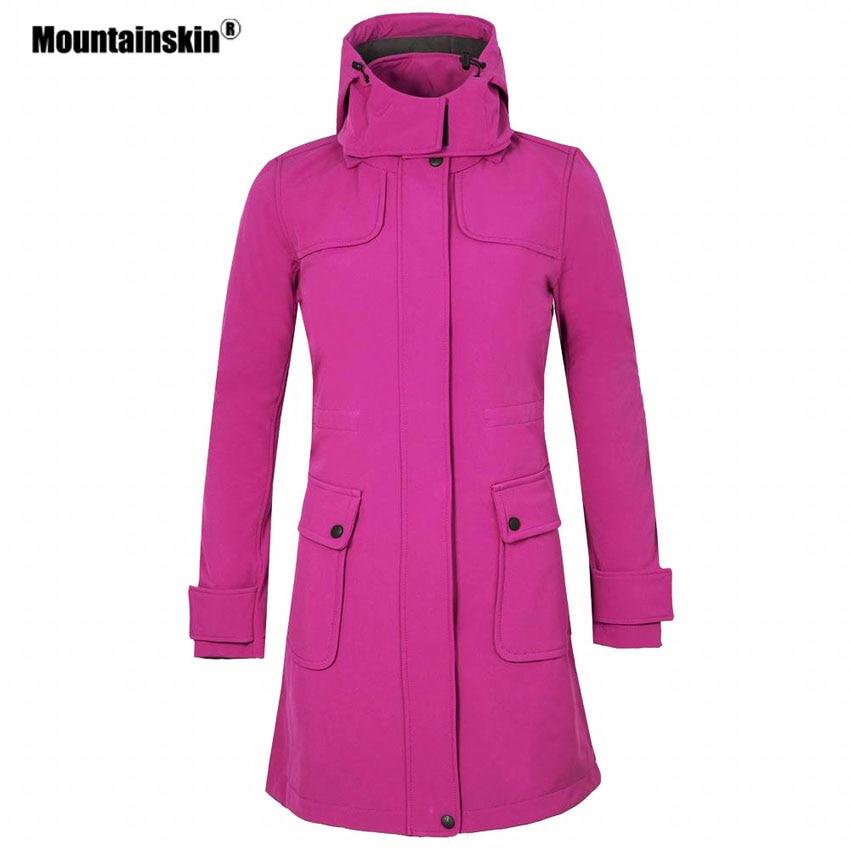 Mountainskin Women's Winter Fleece Softshell Jacket Outdoor Long Windbreaker Hiking Camping Trekking Climbing Brand Coats VB078
