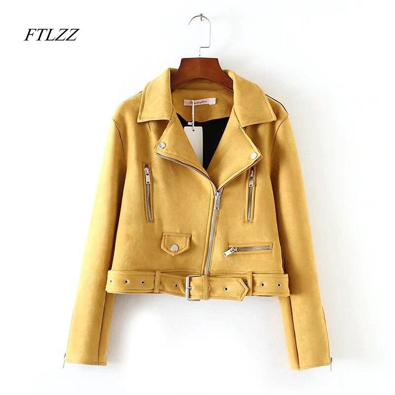 Ftlzz New Autumn Women Suede Leather Jacket Women Slim Short Design Faux Leather Jacket Yellow Punk