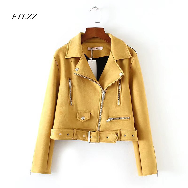 Ftlzz New Autumn Women   Suede     Leather   Jacket Women Slim Short Design Faux   Leather   Jacket Yellow Punk   Leather   Outwear Coat