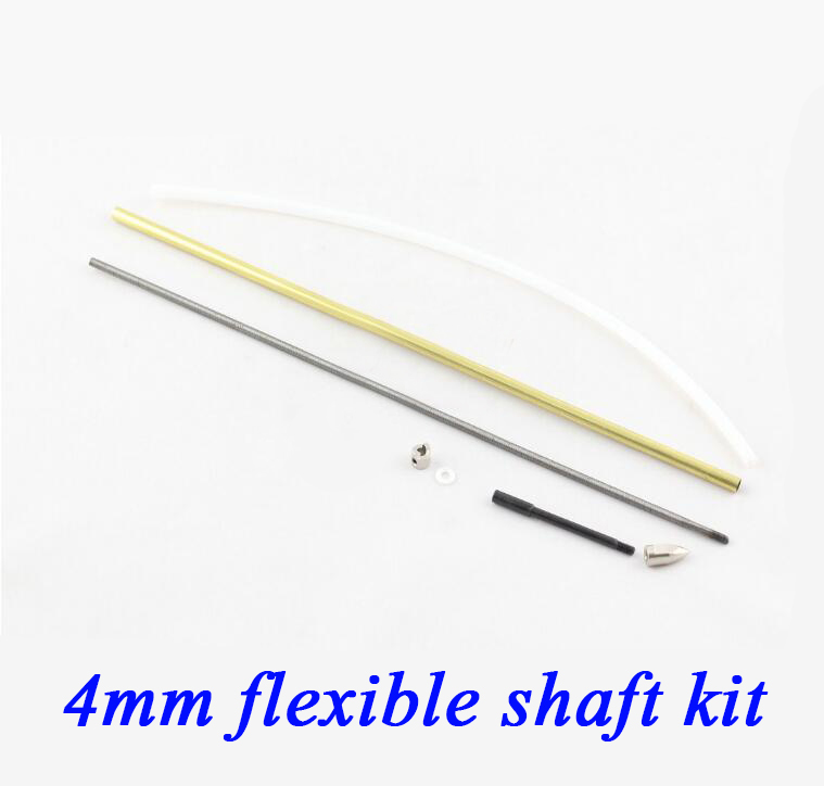 RC Boat 4mm Soft Shaft Kit Flexible Drive Shaft With Hard Shaft End Copper Shaft Sleeve Drive Dog Set Spare Part original dhk hobby metal drive shaft 2pcs set
