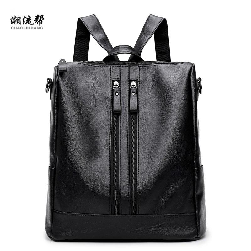 2018 Vintage PU Leather Women Backpack For Teenage Girls School Shoulder Bag High Quality Female Casual Rucksack Daypack Mochila