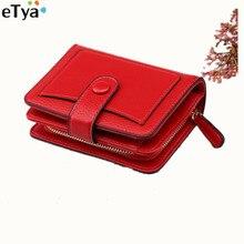Купить с кэшбэком eTya 2018 Fashion Korean Pu Leather Women Wallets Purses Ladies Zipper Small Short Wallet Clutch Coin Purse Card Holder Pocket