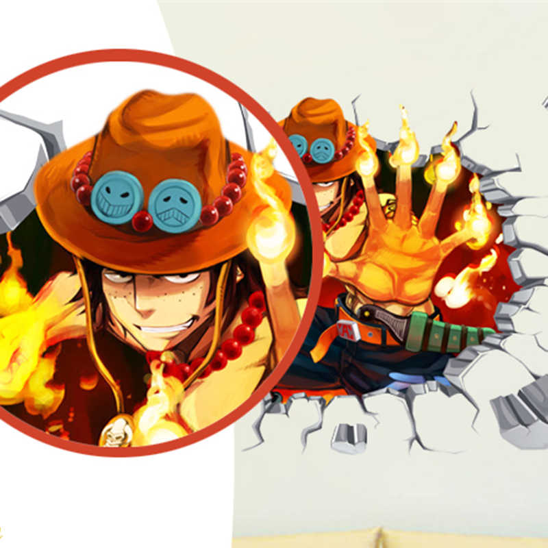 Big Size 9060cm One Piece Anime Sticker 3d Visual Effect Wallpaper Portgas D Ace Monkey D Luffys Brother Mode Stickers St06