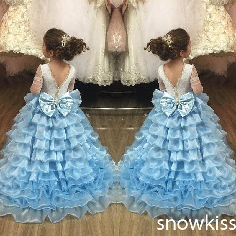 Бальное платье Небесно голубой с открытой спиной с длинным шлейфом оборками Многоуровневое Кристаллы платье с цветочным узором для девоче