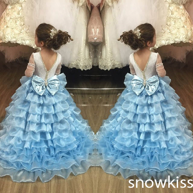 Ball gown Sky Blue Open Back With Long Train Ruffles Tiered Crystals Flower Girl Dress Party Birthday Evening Party Pageant Gown 2017 mint high low flower girl dress for wedding with long train crystals ball gown kids 1st birthday party outfits baby dresses