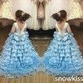 Vestido de baile céu azul aberto voltar com Long Train Ruffles em camadas cristais vestido da menina flor festa de aniversário Evening partido vestido Pageant