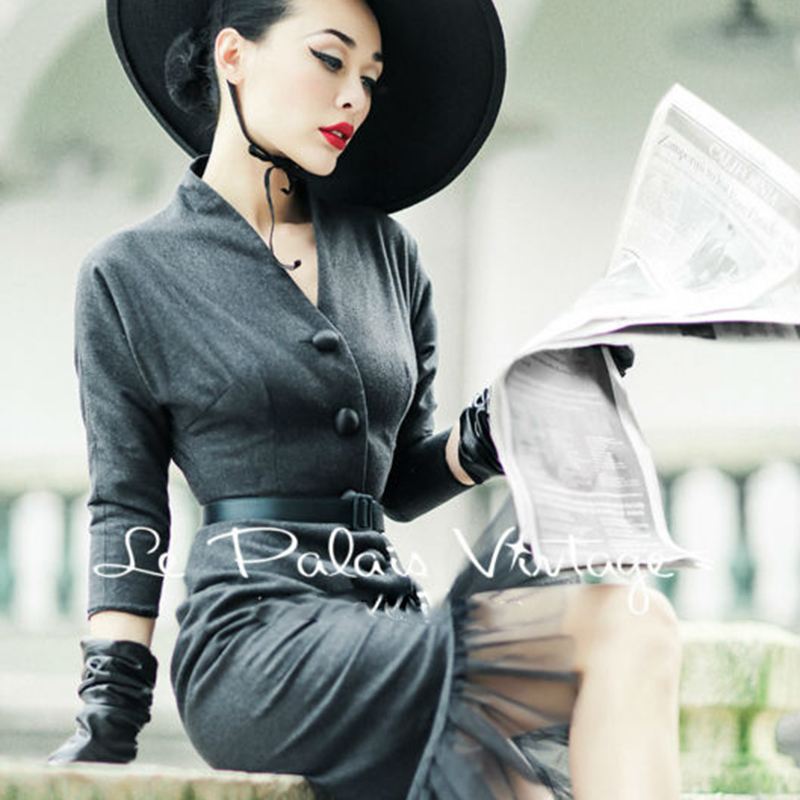FREE SHIPPING Le Palais Vintage autumn and winter retro elegant gray Slim retro fishtail dress bodycon