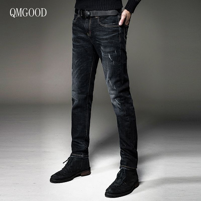 QMGOOD 2017 New Arrival Famous Brand Fashion Men's Jeans Slim Fit Stretch Ripped Autumn Denim Jean High Quality Male Size 28-38 2017 new arrival italy famous brand men s fashion jeans high quality size 30 40 blue vintage jeans pants