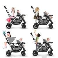 Портативный складной близнецов Детские коляски ребенок тележки сидя лежа с несколькими Функция 3 Стульчики Детские mutiple второй ребенок Арб