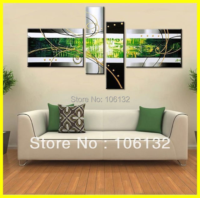 Framed 4 Panel Large Canvas Art Black White And Green Oil Set Abstract Painting Wall Decor