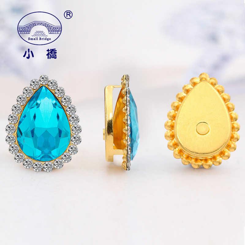 20 Pcs Glitter Longgar Jahit Berlian Imitasi Warna Campuran Kaca Berhias Berlian Imitasi Tetesan Air Kristal Berlian Imitasi untuk Pakaian S133