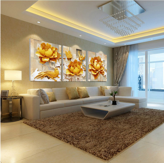 DIY Modern Gold Bird Painting Home Decor Canvas On The Wall Art Modular Pictures Unframed For Living Room