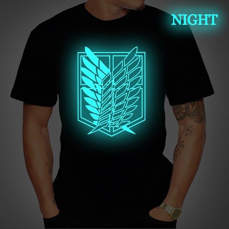 Men's Clothing Attack On Titan Prints T Shirt Luminous Short Sleeve T Shirts Women Casual Tee Tops Streetwear T Shirt Plus Size