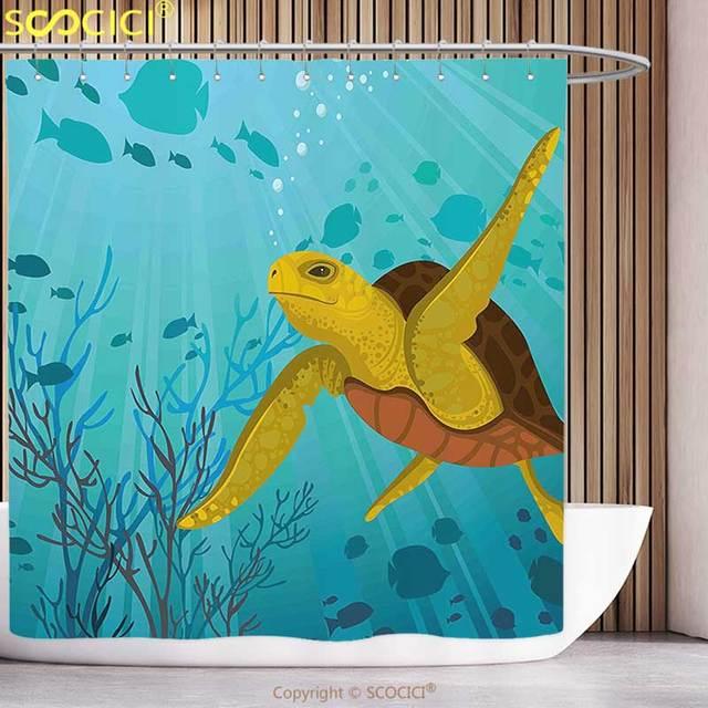 Stylish Shower Curtain Turtle Cartoon Cute Animal Under The Sea Silhouettes  Of Fish Sun Rays Coral