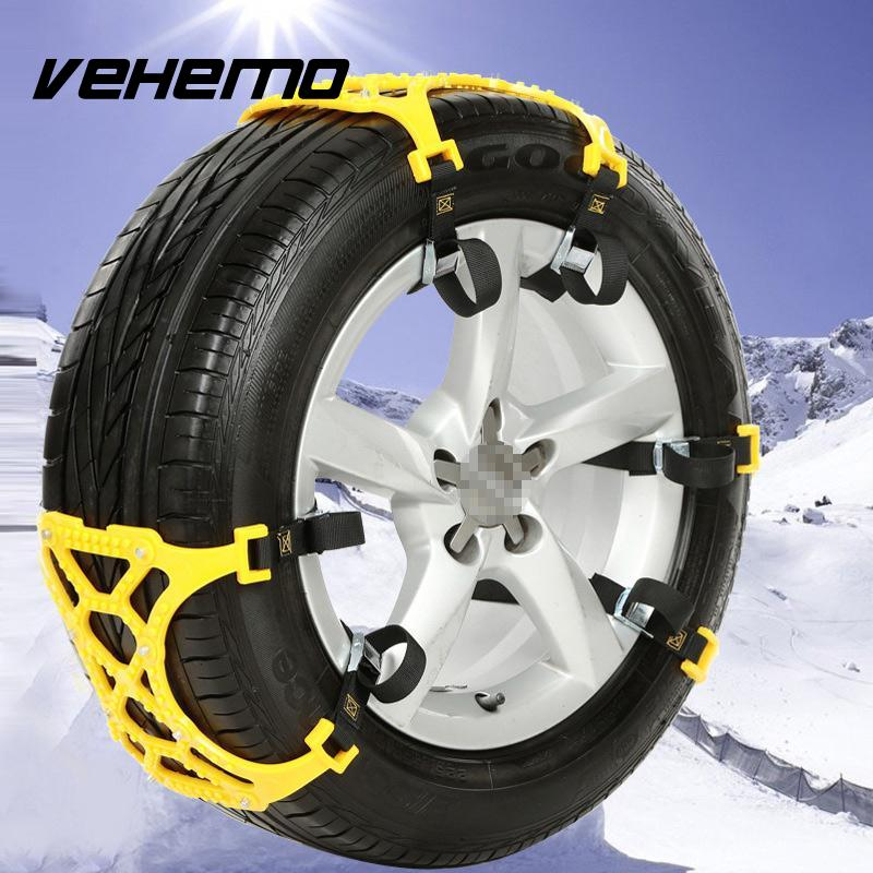 Vehemo TPU Snow Chains Universal Car Winter Roadway Safety Suit For 165mm-265mm Tire Chains Snow Climbing Mud Ground Anti Slip