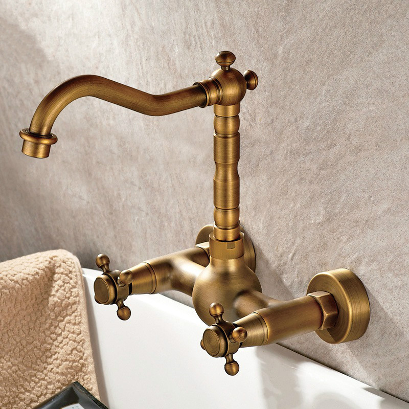Bathroom Wall Antique Copper Hanging Type Basin Wash Of Cold Hot Water Double Style Faucet Round