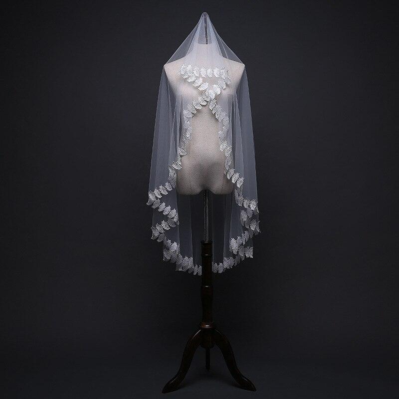 White One Layer 1.5 M Bridal Veil 2019 Lace Appliques Cheap Bridal Veil Lace Dress Wedding Veil Bride Accessories