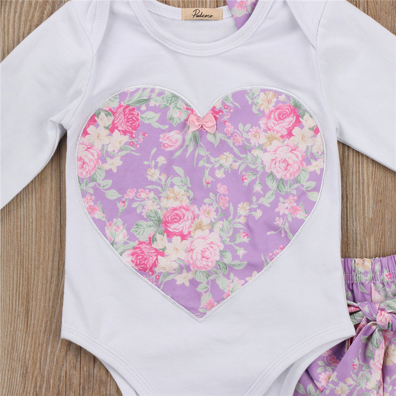 0 to 24M Newborn Baby Girls Clothes Cotton Long Sleeve Romper Tops +Flower Pants +Headdress 3Pcs Outfits Baby Clothing Set