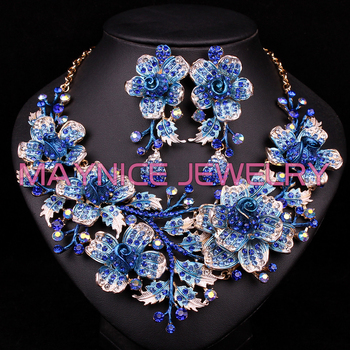 Wholesale Bridal Accessories | Luxury Bridal Jewelry Sets Wedding Necklace Earrings Set For Brides Costume Accessories Flower Rhinestone Jewellery Wholesale