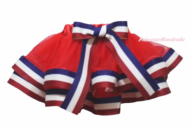 4th July Red White Blue Striped Trimmed Tutu Baby Girls Skirt NB-8Y