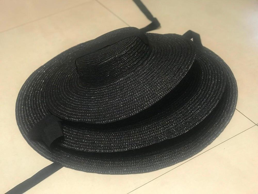 01811-axi summer natural handmade paper Designer style wind brim black leisure beach black ribbon lady fedoras cap  women  hat