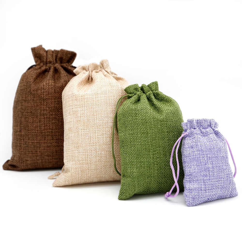 5 sztuk bawełniana pościel jutowa sakiewka własne logo jutowa sakiewka juta ślub cukierki prezent okrągłe dno sznurek opakowanie na biżuterie torby