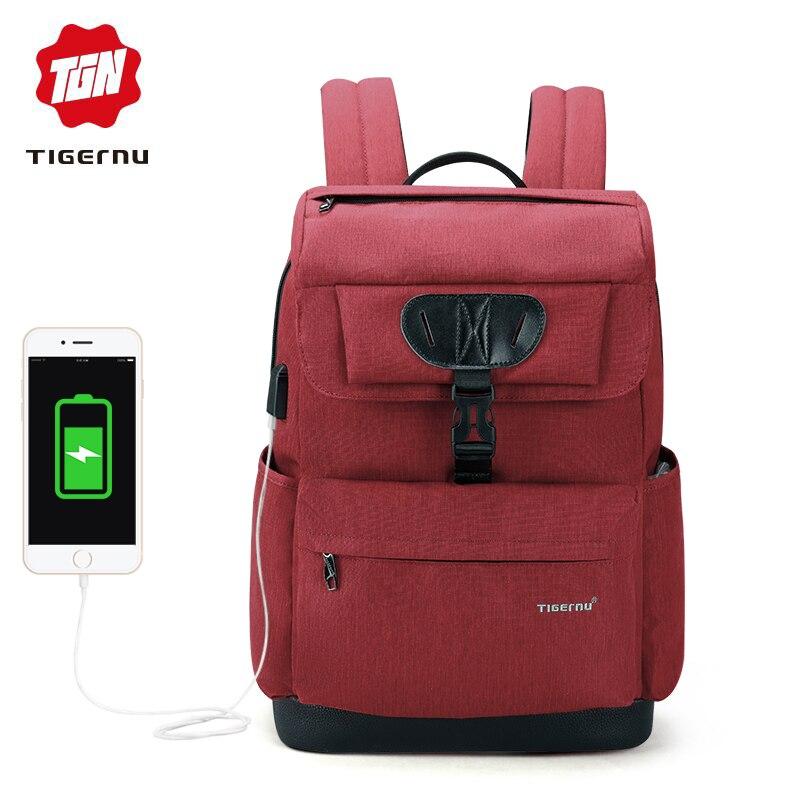 Tigernu Brand fashion Slim women USB charging Backpack male 15.6 Laptop