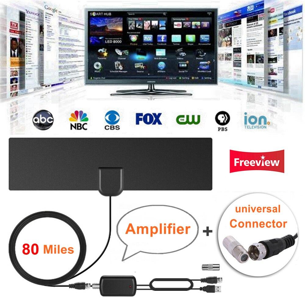 80 Miles Digital Indoor HD TV Antenna with Signal Amplifier Booster TV Radius Surf Fox Antennas Freeview Antena DVB-T2 TV Aerial