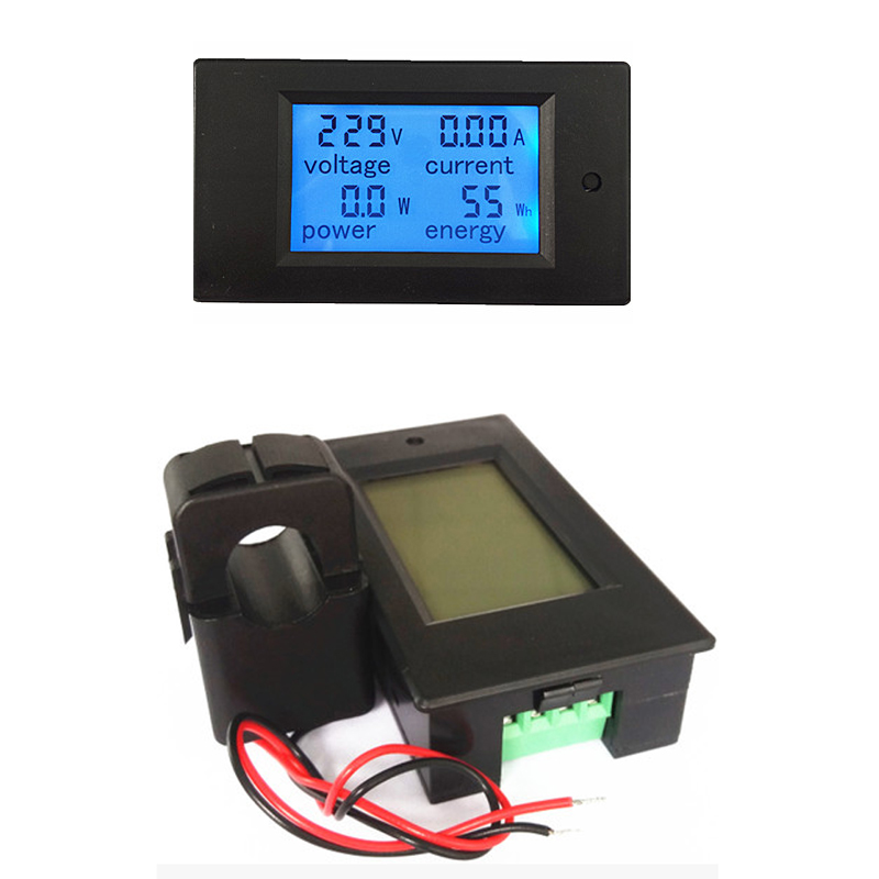 Register shipping ! 4 IN 1 Digital AC 80-260V 100A voltage current power energy Voltmeter Ammeter Watt Power Meter With Split CT