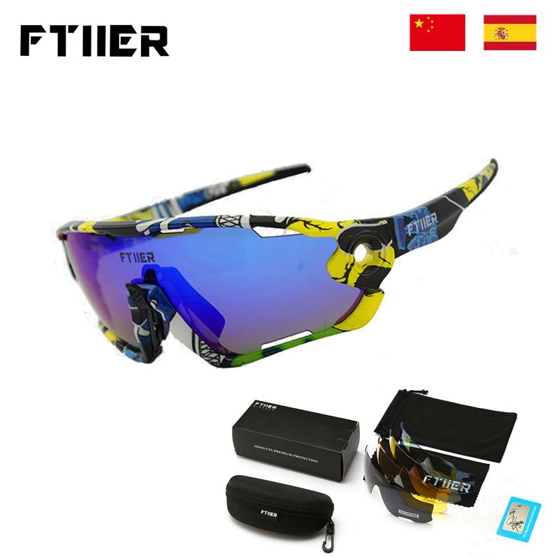 Ftiier 5Lens Cycling Glasses Polarized Sports MTB Mountain Road Bike Bicycle Sunglasses Sports Riding Eyewear