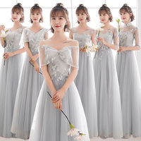 New light grey champone fairy floor length sexy lady girl women princess bridesmaid banquet party ball dress gown