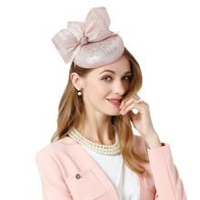 FS Cappello di Fascinator Per La Cerimonia Nuziale Rosa Fortino Cappello Con  Bowknot Estate Fedora Per Le Donne Accessori Per Ca. 69c59fed71b6
