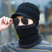 BKONE Men Winter Wool Knitted Balaclava Cap Ninja Mask Warm Plush Pocket Hat Motorcycle Snow Cap Beanies&Skullies