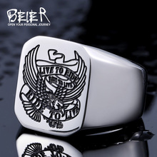 Beier 316L stainless steel ring Band Biker Men's ring a coat of arms of the Russian Signet Ring Fashion Jewelry BR8-431