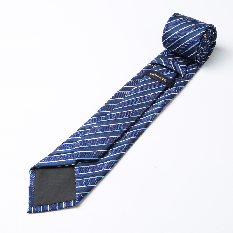 High Quality Business Tie Men 2017 New 8cm British Style Navy Blue Work Necktie Noble Black White Striped Tie for Men Gift Box