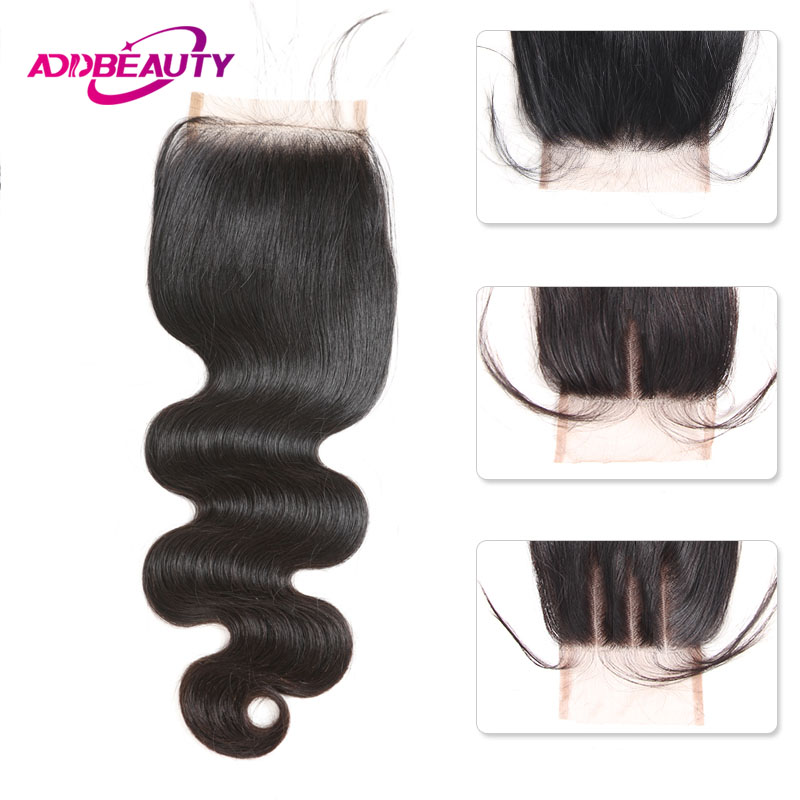Swiss HD Transparent 4x4 Lace Closure Body Wave Brazilian Unprocessed Virgin Human Hair Free Middle Three Part Natural Color