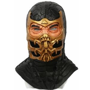 Máscara de escorpión X-COSTUME Mortal Kombat 9, accesorios para Cosplay, máscara de resina de cabeza completa, cascos de calidad, Cosplay de Halloween para hombres