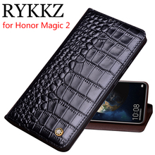 RYKKZ Genuine Leather Flip Case For Huawei Honor Magic 2 Cover Magnetic case Cases Phone Fundas