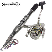 Sougayilang 1.8-3.3 m Fishing Rod and Reel Best Telescopic Carbon Fiber Fishing Pole Olta Carp Fishing Rod with Spinning Reel Set