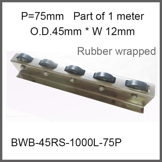 Rubber Wrapped Wheel Conveyor 75mm Pitch / Wheel O.D. 45mm * Width 15mm Capacity 25Kgf skate wheel conveyor fly wheel conveyor wheel