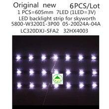 6PCS/set New100%  LED backlight strip for Skyworth 32E3000 Lamp 5800 W32001 3P00 05 20024A 04A  7LED 605mm